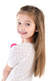 Portrait of smiling cute little girl isolated Stock Photography