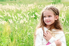 Portrait of smiling cute little girl royalty free stock photo