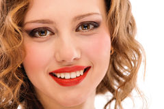 Portrait of smiling darling girl close up Stock Photos