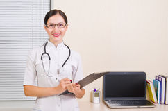 Portrait of a smiling doctor. Portrait of a smiling beautiful young doctor Stock Photo