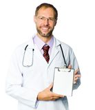 Portrait of a smiling doctor  with health record Royalty Free Stock Photos