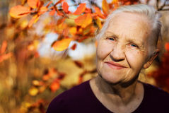 Portrait of the smiling elderly woman Royalty Free Stock Image
