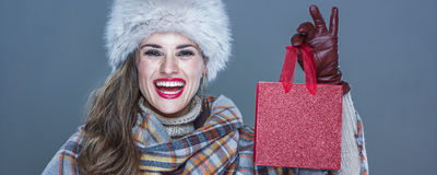 Portrait of smiling elegant woman showing small red shopping bag. Winter things. Portrait of smiling elegant woman in fur hat  on cold blue background showing Royalty Free Stock Photos