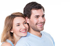 Portrait of smiling embracing couple. Royalty Free Stock Photo