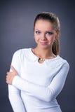 Portrait of smiling expressive model, close-up Stock Image