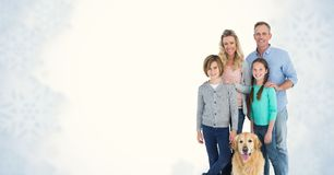 Portrait of smiling family with dog. Digital composite of Portrait of smiling family with dog stock image