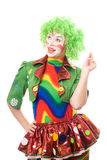 Portrait of smiling female clown. Isolated on white Stock Photo