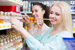Portrait of smiling female customers shopping Royalty Free Stock Image