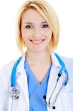 Portrait of smiling female doctor with stethoscope Stock Image