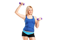 Portrait of a smiling female exercising Royalty Free Stock Photo