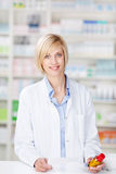 Portrait of a smiling female pharmacist stock photo