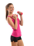 Portrait of smiling fit girl with dumbbells Royalty Free Stock Photography