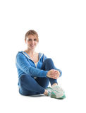 Portrait of a smiling fit young woman stock photography