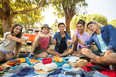 Portrait of smiling friends showing beer bottles and glasses. While sitting on field during picnic Stock Photos