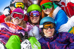 Portrait of smiling friends wearing goggles Stock Photo
