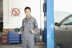 Portrait of Smiling Garage Mechanic at Work Royalty Free Stock Photos