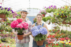 Portrait of smiling gardeners holding flower pots at greenhouse Royalty Free Stock Photo