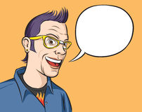Portrait of a smiling geek with speech balloon. Vector illustration of portrait of a smiling geek with speech balloon Royalty Free Stock Images