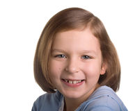 Portrait of a smiling girl. Over white Royalty Free Stock Image