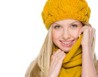 Portrait of smiling girl in autumn clothes Royalty Free Stock Photo