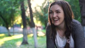 Portrait of a smiling girl stock footage