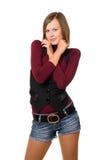 Portrait of smiling girl in a black vest Stock Photo