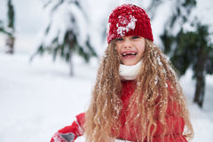 Portrait of smiling girl covered with snow Stock Images
