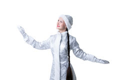 Portrait of smiling girl dressed as Snow Maiden Stock Images
