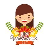 Portrait smiling girl flowers arrangement happy womens day. Vector illustration Royalty Free Stock Photo