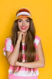 Portrait Of Smiling Girl In Plastic Cap stock images