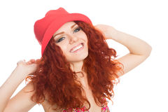 Portrait smiling girl with red hair Royalty Free Stock Photography