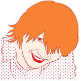 Portrait of a smiling girl with red hair. Style Pop Art Royalty Free Stock Photos