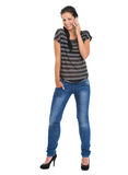 Portrait of smiling girl speaking mobile phone Stock Photo