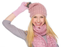 Portrait of smiling girl in winter clothes Stock Image
