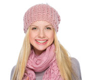 Portrait of smiling girl in winter clothes Royalty Free Stock Image