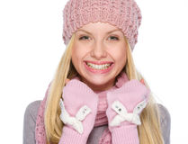 Portrait of smiling girl in winter clothes Stock Photos