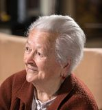 Portrait of smiling gray-haired old woman Stock Photography