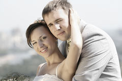 Portrait smiling groom and bride Royalty Free Stock Photo
