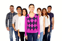 Portrait of a smiling group people. Over white background Royalty Free Stock Image