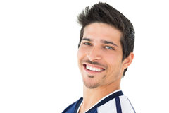 Portrait of smiling handsome football player Stock Photos