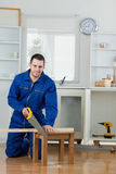 Portrait of a smiling handyman Stock Photos