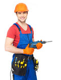 Portrait of smiling handyman with tools Royalty Free Stock Photo