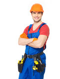 Portrait of smiling handyman with tools Stock Photography