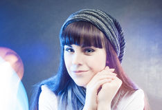 Portrait of Smiling Happy Caucasian Female Wearing Winter Hat an Royalty Free Stock Photos