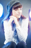 Portrait of Smiling Happy Caucasian Female Wearing Winter Hat in Stock Photos