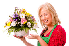 Portrait of smiling happy florist Royalty Free Stock Photo