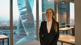 Portrait of smiling happy looking to camera businesswoman stock video