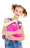 Portrait of smiling happy school girl child with school bag and Stock Image