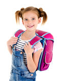 Portrait of smiling happy school girl child with school bag isolated. On a white background education concept stock photography