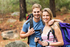 Portrait of a smiling hiker couple Stock Images